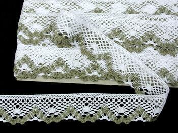 Cotton bobbin lace 75261, width 40 mm, white/dark linen gray - 1