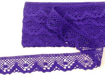 Cotton bobbin lace 75261, width 40 mm, purple - 1