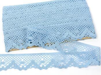 Paličkovaná krajka 75261 bavlněná, šířka40 mm, sv.modrá - 1