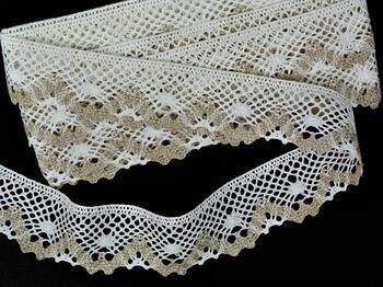 Linen bobbin lace 75261, width 40 mm, 100% linen bleached/natural - 1