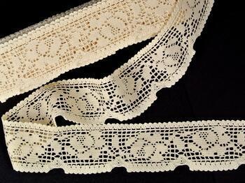 Cotton bobbin lace 75268, width 55 mm, ecru - 1