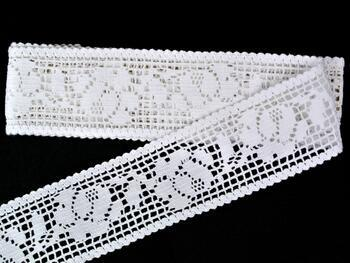 Cotton bobbin lace insert 75269, width53mm, white - 1