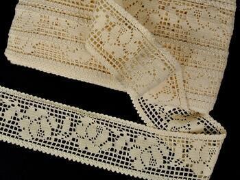 Cotton bobbin lace insert 75269, width53mm, ecru - 1