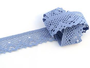 Cotton bobbin lace 75261, width 40 mm, sky blue - 1