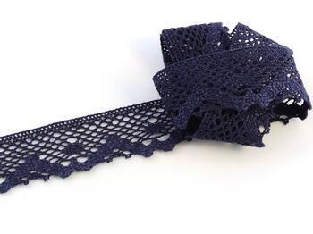 Paličkovaná krajka 75261 bavlněná, šířka40 mm, tm.modrá - 1