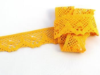 Paličkovaná krajka 75261 bavlněná, šířka40 mm, tm.žlutá - 1