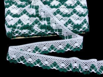 Paličkovaná krajka 75261 bavlněná, šířka40 mm, bílá/zelená - 1