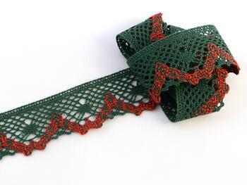 Cotton bobbin lace 75261, width 40 mm, dark green/light red/dark green