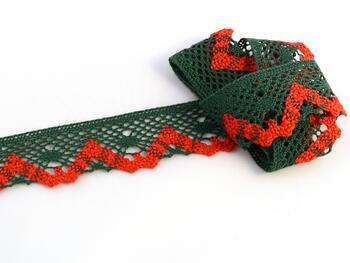 Cotton bobbin lace 75261, width 40 mm, dark green/light red