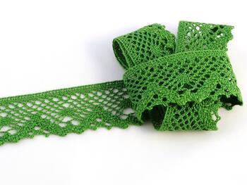 Cotton bobbin lace 75261, width 40 mm, grass green - 1