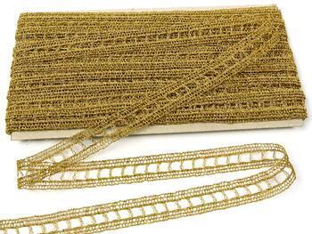 Metalic bobbin lace insert 75281, width18mm, Lurex gold - 1