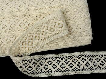 Cotton bobbin lace insert 75283, width53mm, ecru - 1