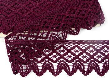 Paličkovaná krajka 75293 bavlněná, šířka68 mm, fialová - 1