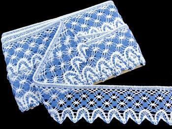 Cotton bobbin lace 75293, width 68 mm, white/sky blue - 1