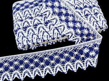 Paličkovaná krajka 75293 bavlněná, šířka68 mm, bílá/tm.modrá - 1