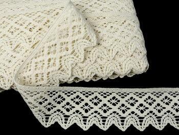 Cotton bobbin lace 75293, width 68 mm, ecru - 1