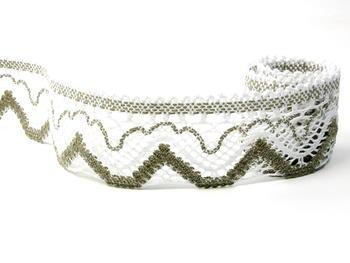 Paličkovaná krajka vzor 75301 bílá/tmavě lněná | 30 m - 1