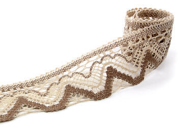 Bobbin lace No. 75301 beige/dark beige   30 m - 1