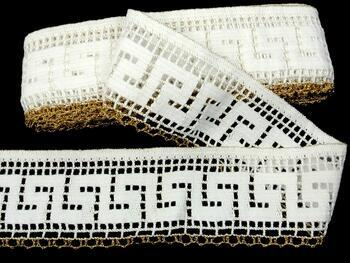 Cotton bobbin lace 75303, width 75 mm, white/Lurex gold - 1
