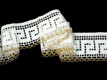 Bobbin lace No. 75303 white/metalic yarn gold | 30 m - 1