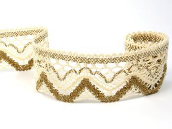 Cotton bobbin lace 75301, width 58 mm, ecru/chocolate brown - 1