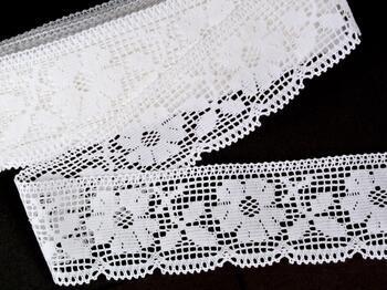 Cotton bobbin lace 75315, width 58 mm, white - 1