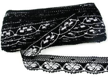 Paličkovaná krajka 75320 bavlněná, šířka40 mm, černá/bílá - 1