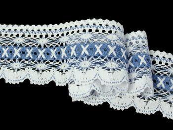 Paličkovaná krajka vzor 75335 bílá/blankytně modrá | 30 m - 1