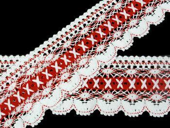 Paličkovaná krajka 75335 bavlněná, šířka75 mm, bílá/červená - 1
