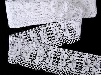 Cotton bobbin lace 75313, width 67 mm, white - 1