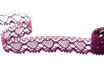 Cotton bobbin lace 75133, width 19 mm, violet - 1