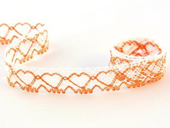 Paličkovaná krajka 75133 bavlněná, šířka19 mm, bílá/sytě oranžová - 1