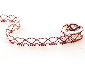Cotton bobbin lace 75133, width 19 mm, white/cranberry - 1