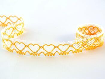 Cotton bobbin lace 75133, width 19 mm, white/dark yellow - 1