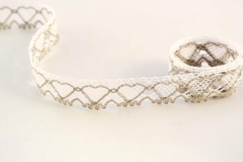 Cotton bobbin lace 75133, width 19 mm, white/dark linen gray - 1