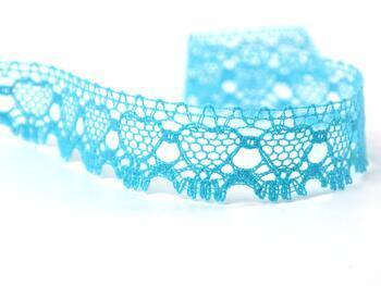 Cotton bobbin lace 75133, width 19 mm, turquoise - 1