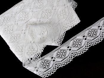 Cotton bobbin lace 75342, width 56 mm, white - 1