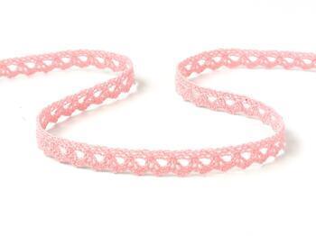 Cotton bobbin lace 75361, width 9 mm, pink - 1