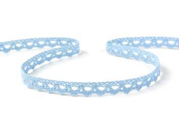 Cotton bobbin lace 75361, width 9 mm, light blue - 1