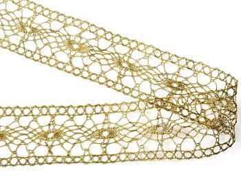 Paličkovaná vsadka 75384 metalická, šířka45mm, Lurex zlatý antik) - 1