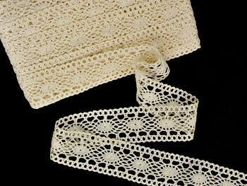 Cotton bobbin lace insert 75384, width45mm, ecru - 1