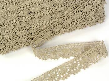 Linen bobbin lace 75394, width 25 mm, 100% linen natural - 1