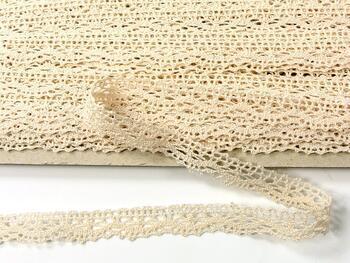 Cotton bobbin lace 75395, width 16 mm, light cream - 1