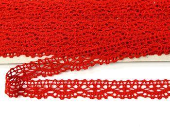 Paličkovaná krajka 75395 bavlněná, šířka16 mm, červená - 1