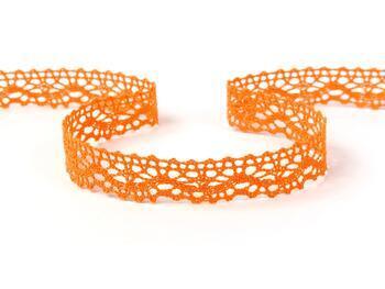 Cotton bobbin lace 75395, width 16 mm, rich orange - 1