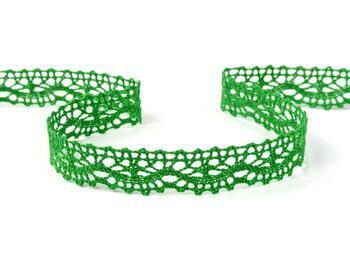Cotton bobbin lace 75395, width 16 mm, grass green - 1
