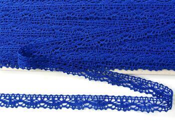 Cotton bobbin lace 75395, width 16 mm, royal blue - 1
