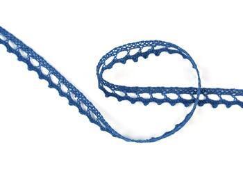 Paličkovaná krajka 75397 bavlněná, šířka9 mm, mořská modrá - 1