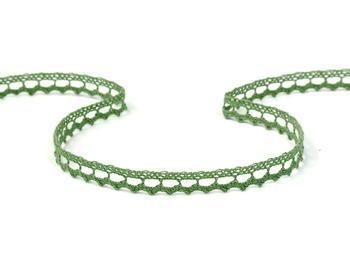 Paličkovaná krajka vzor 75397  zelená olivová | 30 m - 1