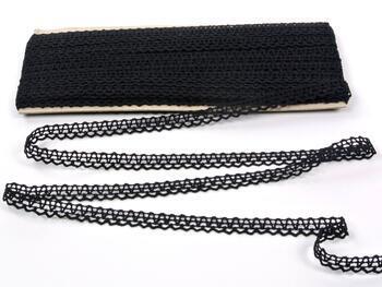 Cotton bobbin lace 75405, width 10 mm, black - 1